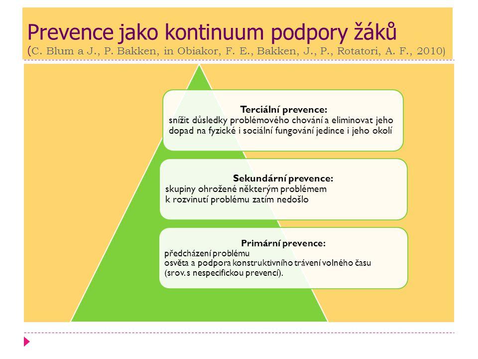 Prevence jako kontinuum podpory žáků (C. Blum a J. , P
