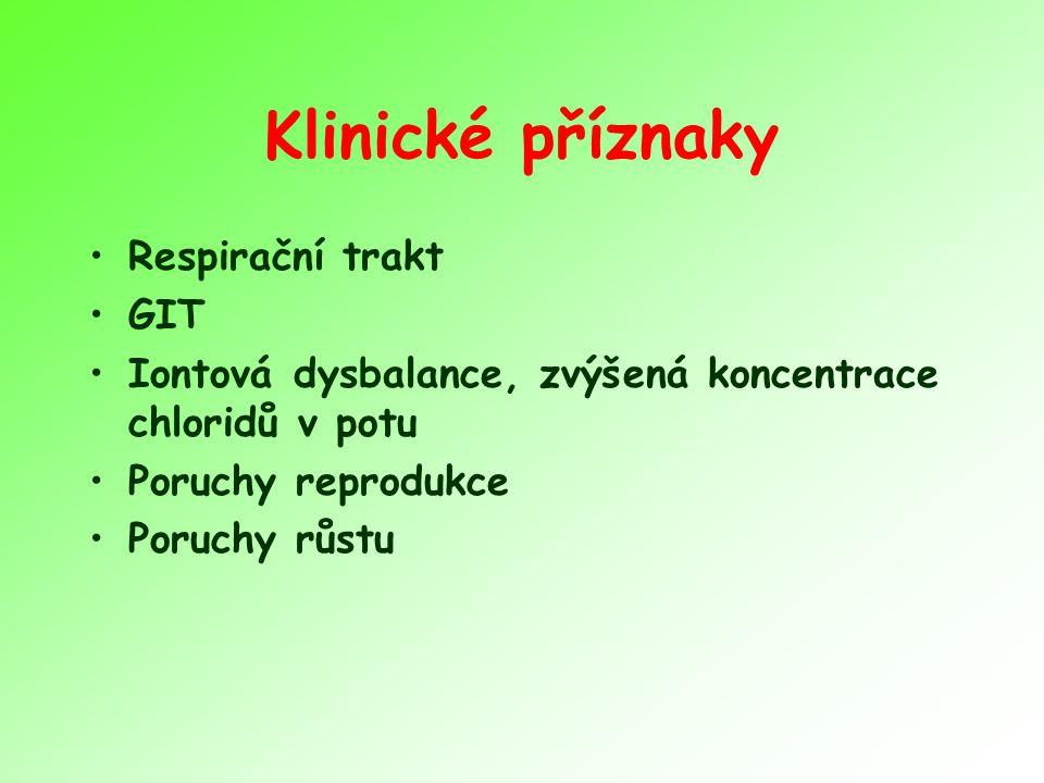 Klinické příznaky Respirační trakt GIT