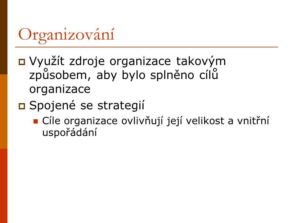 Organizování Využít zdroje organizace takovým způsobem, aby bylo splněno cílů organizace. Spojené se strategií.