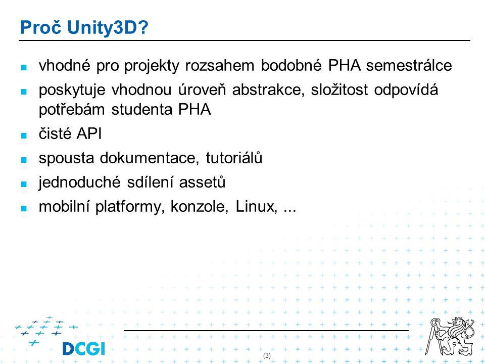 Proč Unity3D vhodné pro projekty rozsahem bodobné PHA semestrálce
