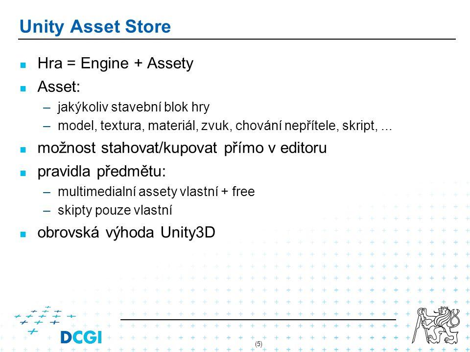 Unity Asset Store Hra = Engine + Assety Asset: