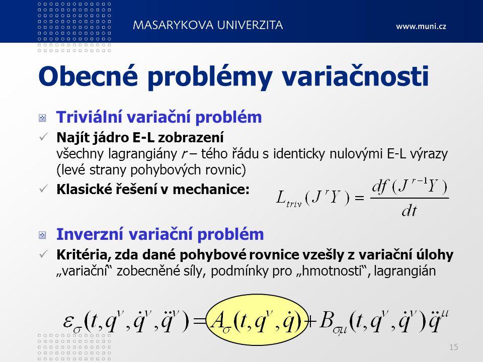 Obecné problémy variačnosti
