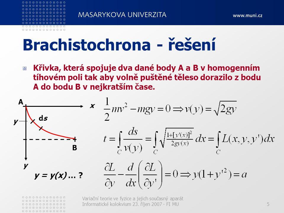Brachistochrona - řešení