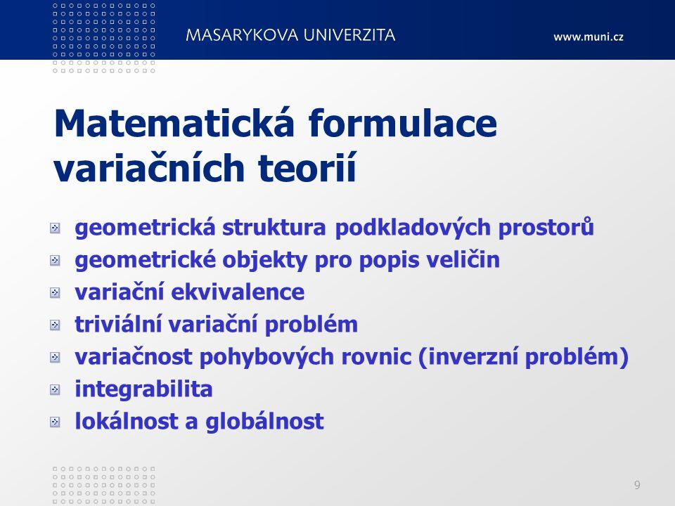 Matematická formulace variačních teorií