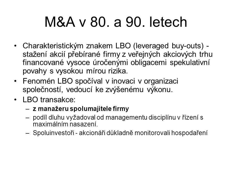 M&A v 80. a 90. letech