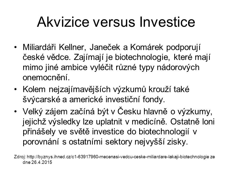 Akvizice versus Investice