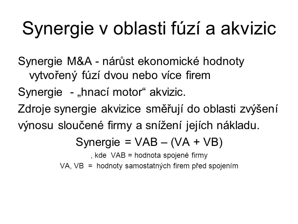 Synergie v oblasti fúzí a akvizic