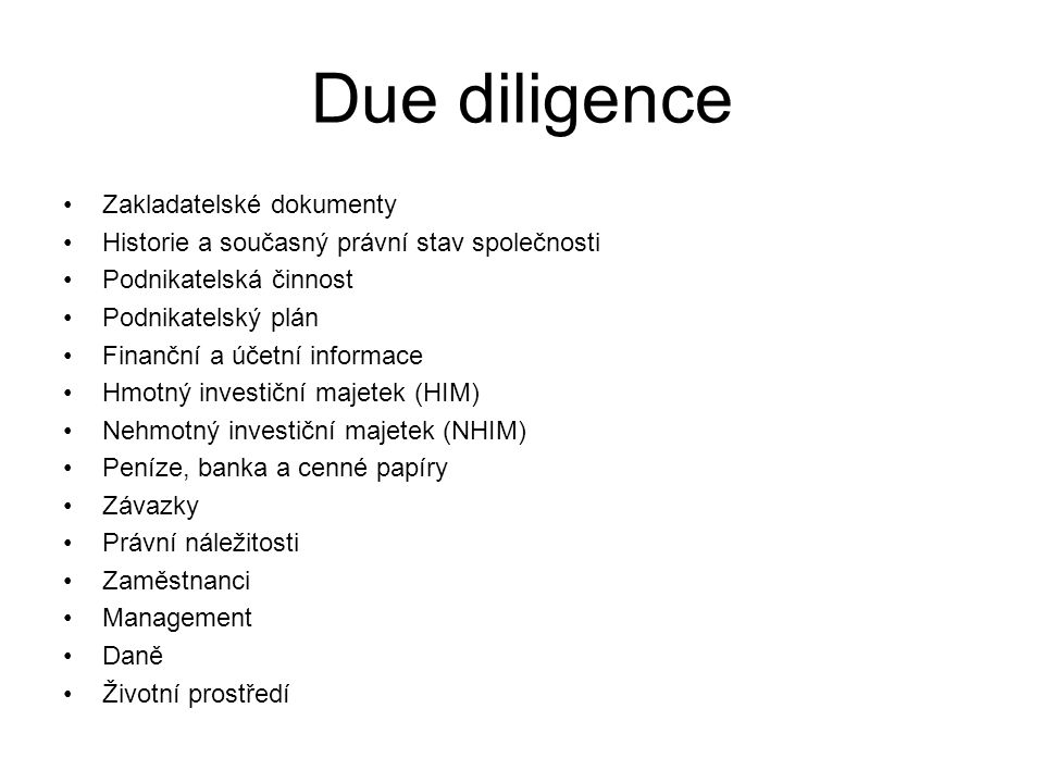 Due diligence Zakladatelské dokumenty