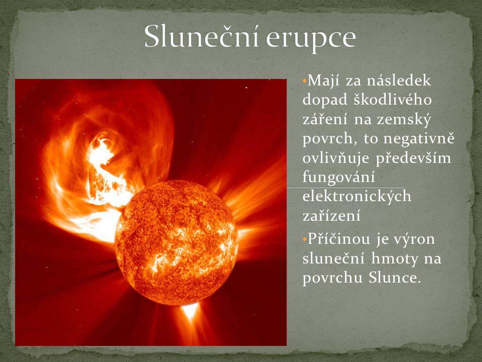 Sluneční erupce Mají za následek dopad škodlivého záření na zemský povrch, to negativně ovlivňuje především fungování elektronických zařízení.