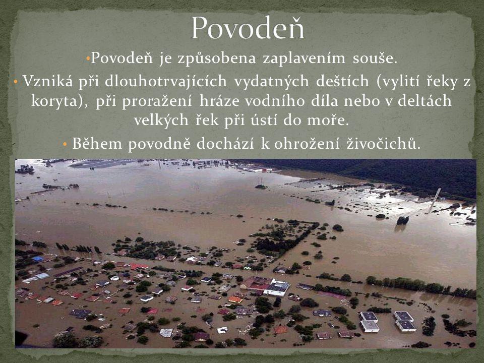 Povodeň Povodeň je způsobena zaplavením souše.