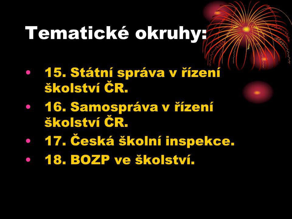 Tematické okruhy: 15. Státní správa v řízení školství ČR.