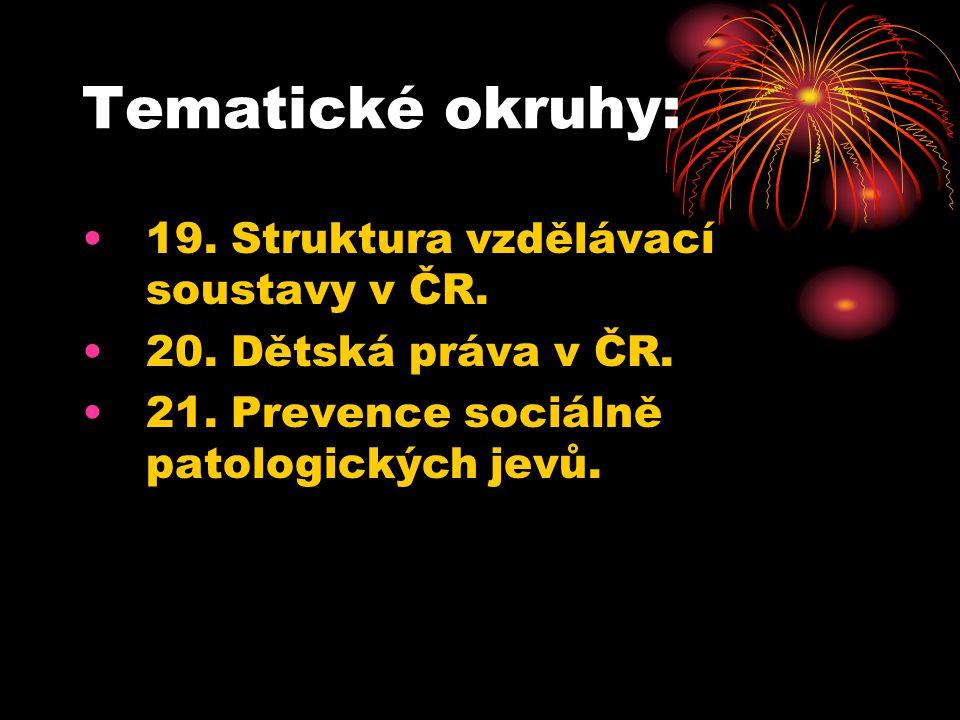 Tematické okruhy: 19. Struktura vzdělávací soustavy v ČR.