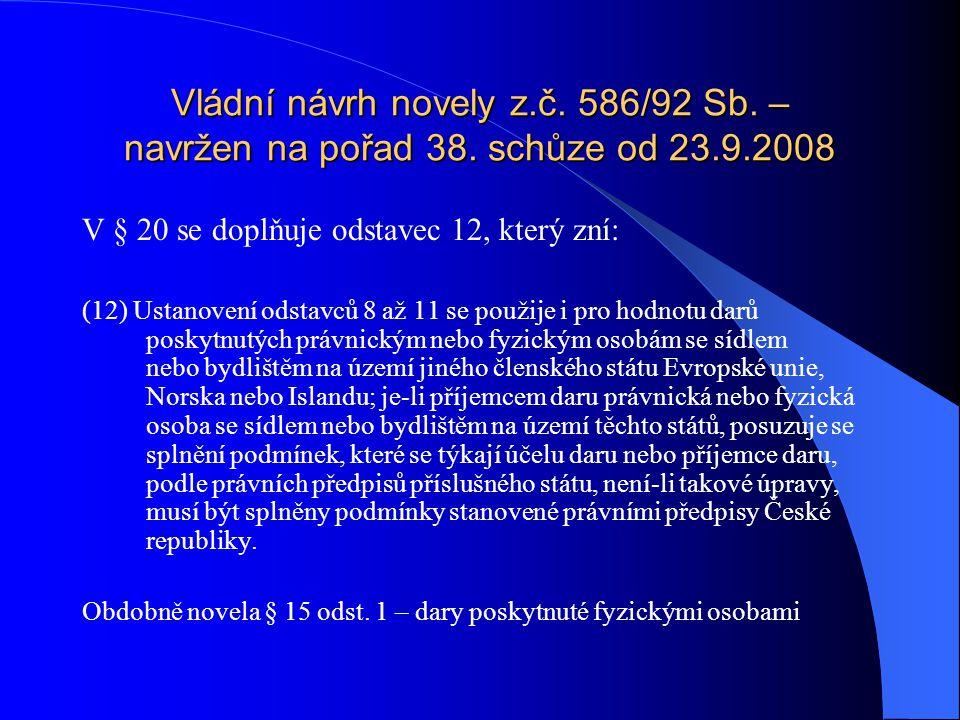Vládní návrh novely z. č. 586/92 Sb. – navržen na pořad 38