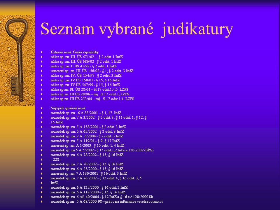 Seznam vybrané judikatury