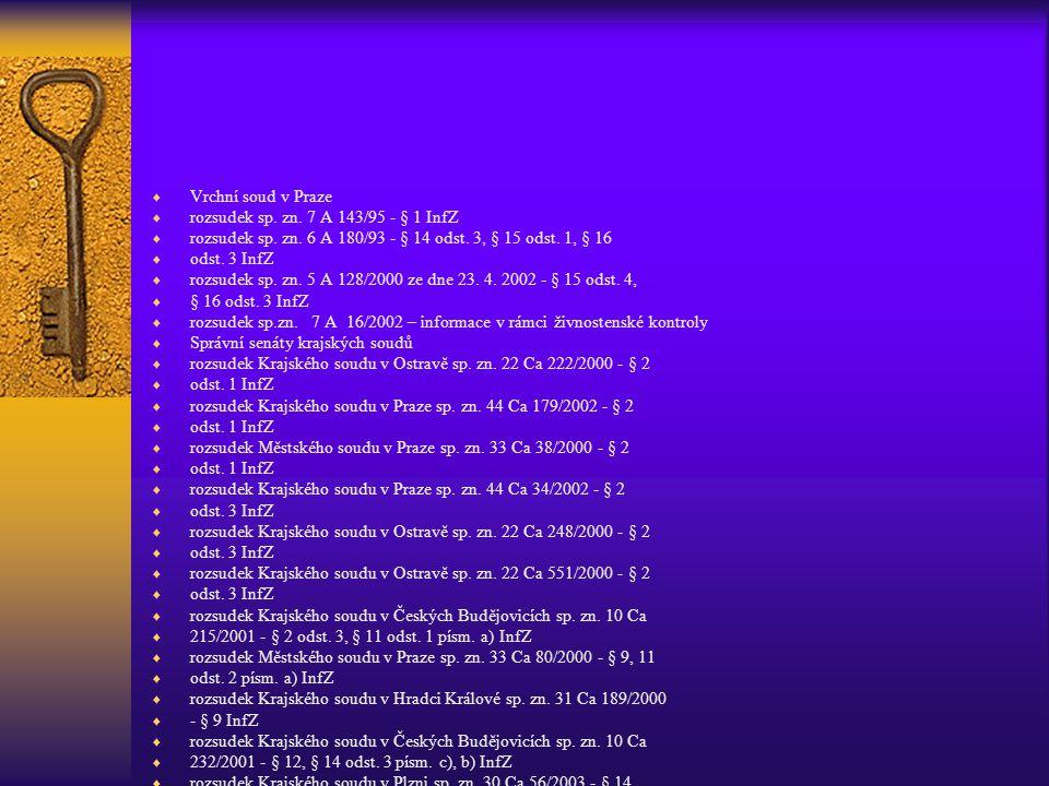 Vrchní soud v Praze rozsudek sp. zn. 7 A 143/95 - § 1 InfZ. rozsudek sp. zn. 6 A 180/93 - § 14 odst. 3, § 15 odst. 1, § 16.