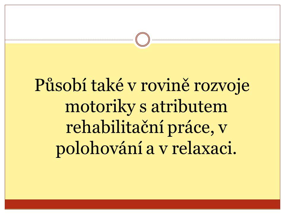 Působí také v rovině rozvoje motoriky s atributem rehabilitační práce, v polohování a v relaxaci.