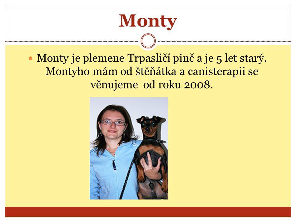Monty Monty je plemene Trpasličí pinč a je 5 let starý.