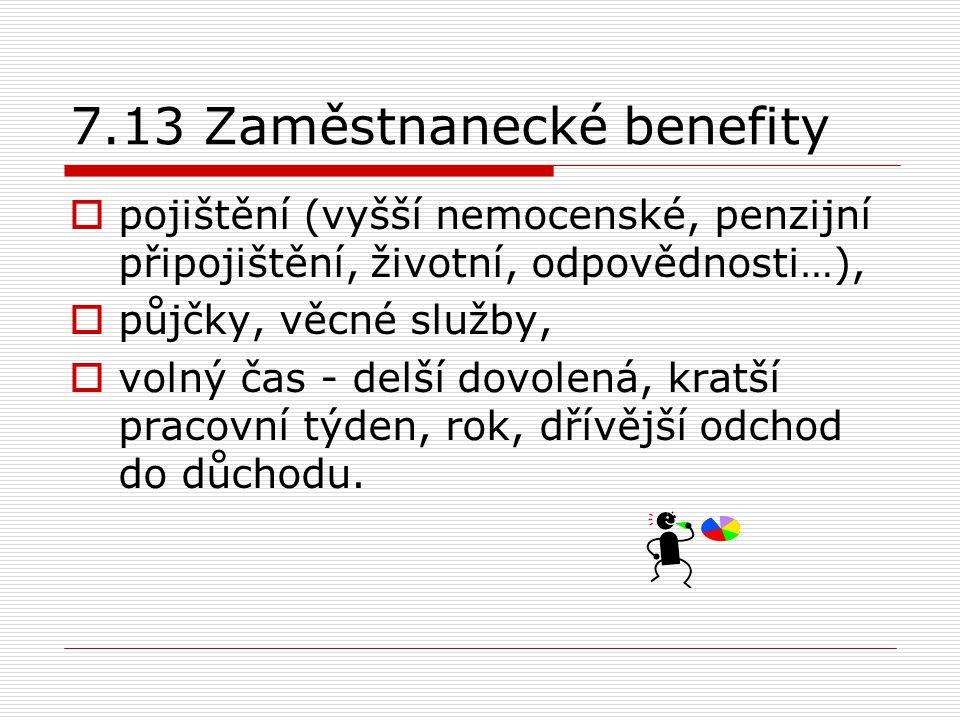 7.13 Zaměstnanecké benefity