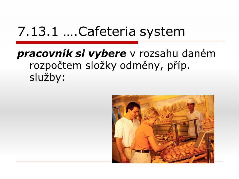 7.13.1 ….Cafeteria system pracovník si vybere v rozsahu daném rozpočtem složky odměny, příp.
