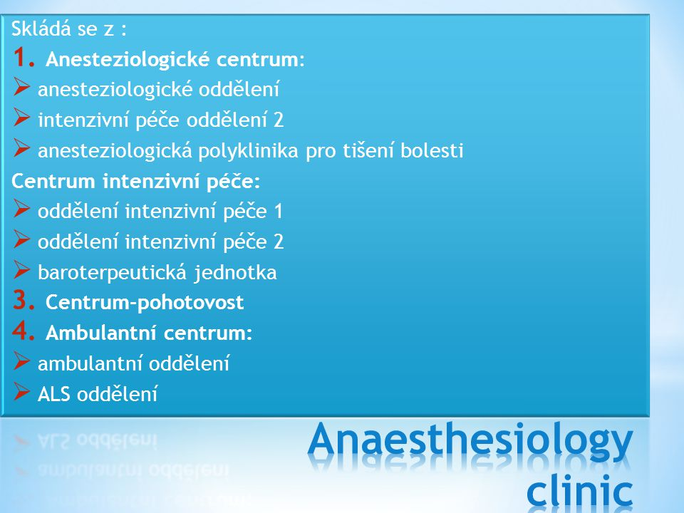 Anaesthesiology clinic