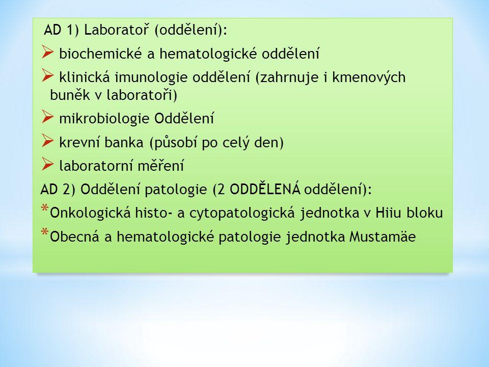 AD 1) Laboratoř (oddělení):
