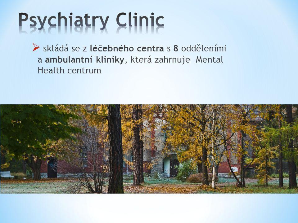 Psychiatry Clinic skládá se z léčebného centra s 8 odděleními a ambulantní kliniky, která zahrnuje Mental Health centrum.
