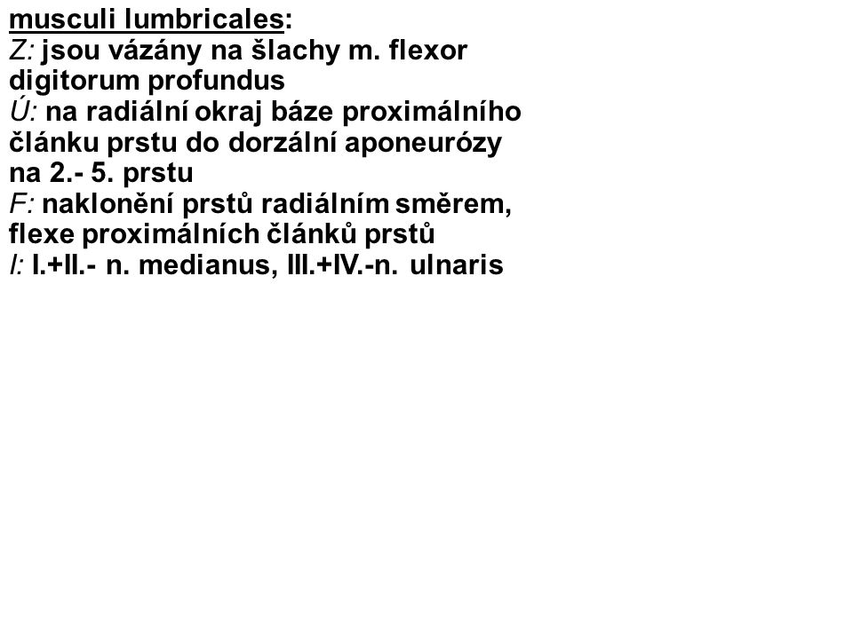 musculi lumbricales: Z: jsou vázány na šlachy m. flexor digitorum profundus.