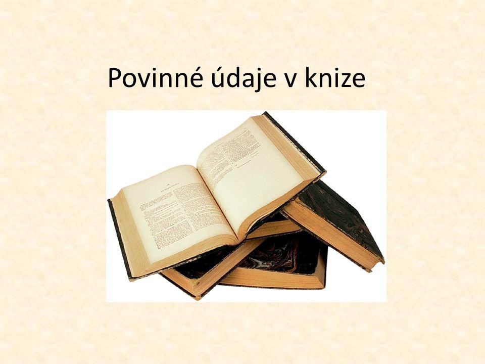 Povinné údaje v knize