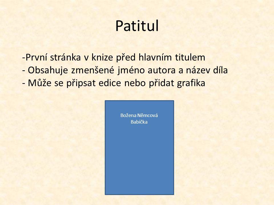 Patitul První stránka v knize před hlavním titulem