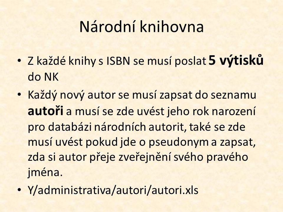 Národní knihovna Z každé knihy s ISBN se musí poslat 5 výtisků do NK