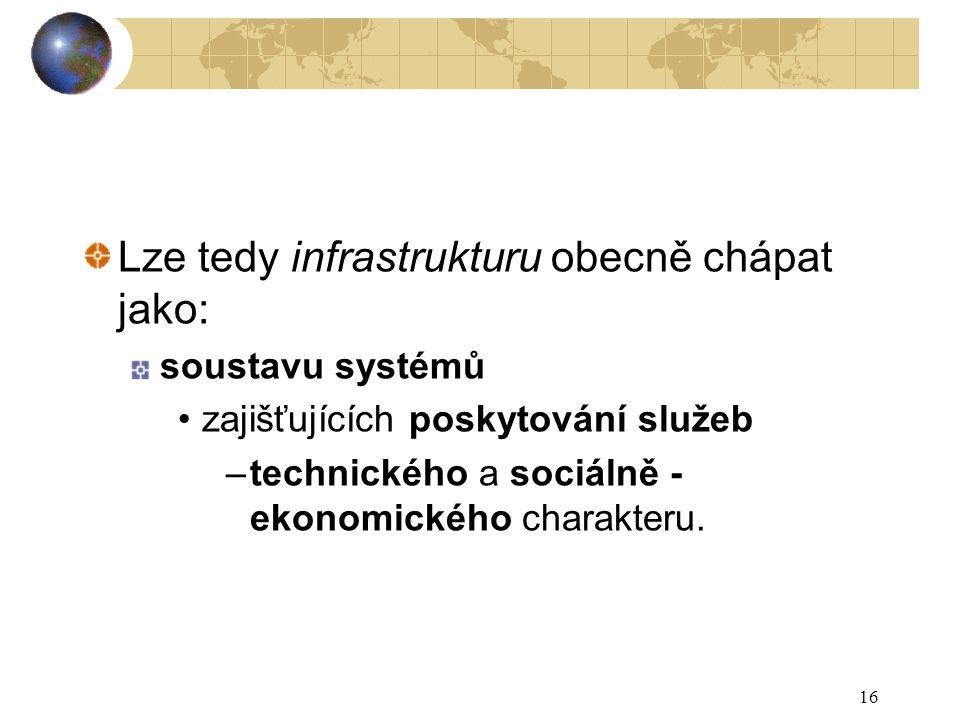 Lze tedy infrastrukturu obecně chápat jako: