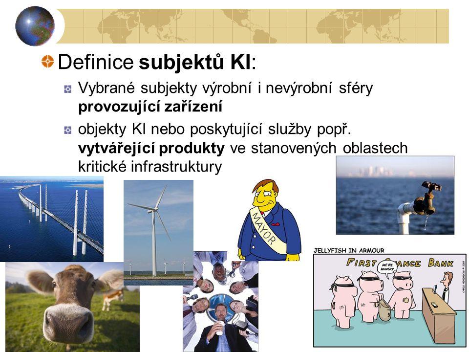 Definice subjektů KI: Vybrané subjekty výrobní i nevýrobní sféry provozující zařízení.