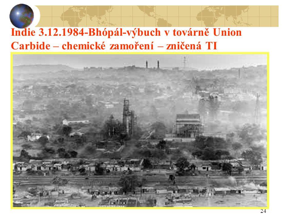 Indie 3.12.1984-Bhópál-výbuch v továrně Union Carbide – chemické zamoření – zničená TI