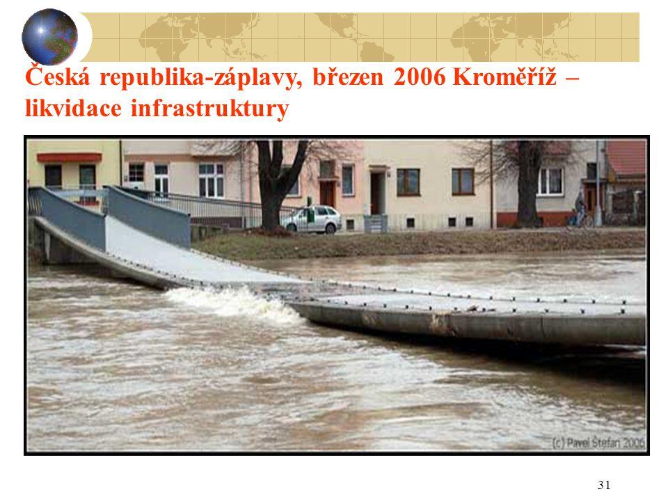 Česká republika-záplavy, březen 2006 Kroměříž –likvidace infrastruktury