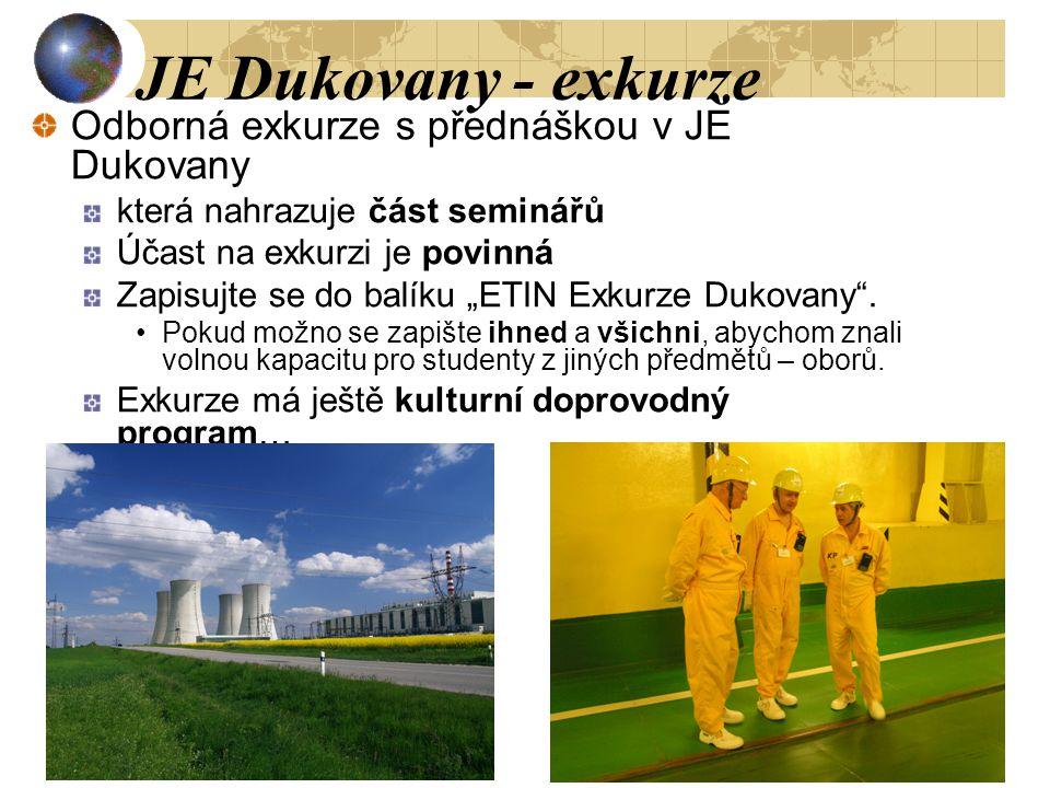 JE Dukovany - exkurze Odborná exkurze s přednáškou v JE Dukovany