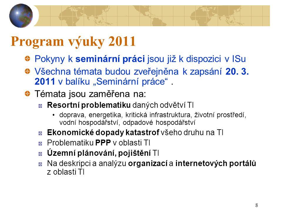 Program výuky 2011 Pokyny k seminární práci jsou již k dispozici v ISu