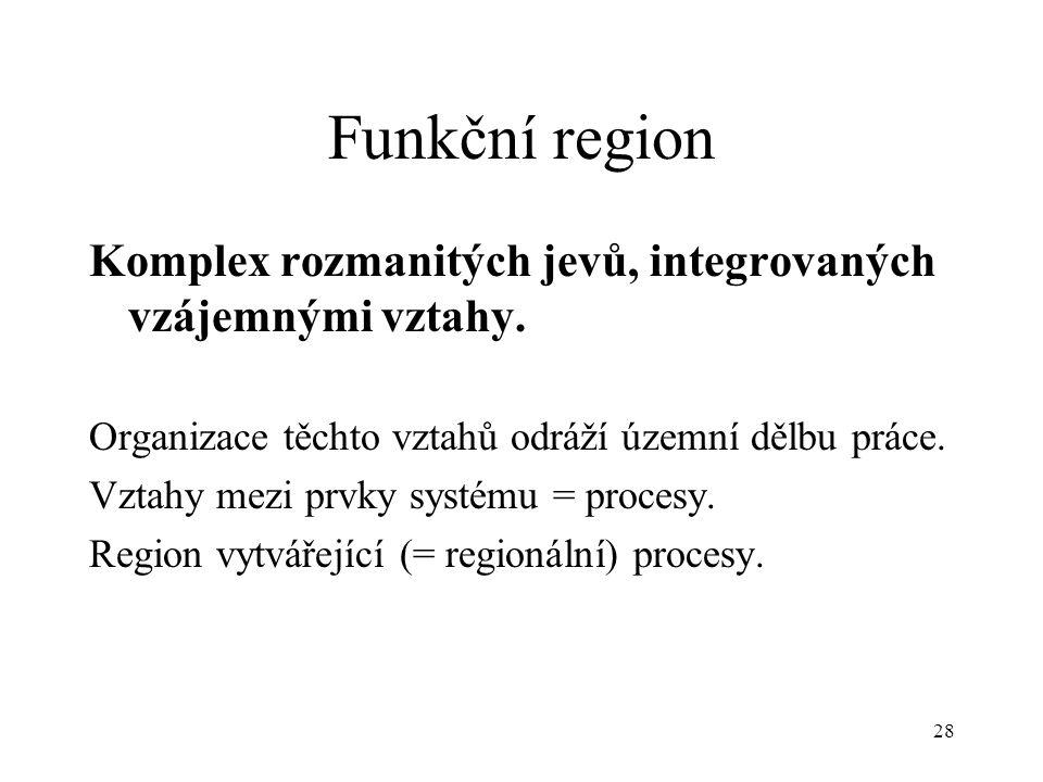 Funkční region Komplex rozmanitých jevů, integrovaných vzájemnými vztahy. Organizace těchto vztahů odráží územní dělbu práce.