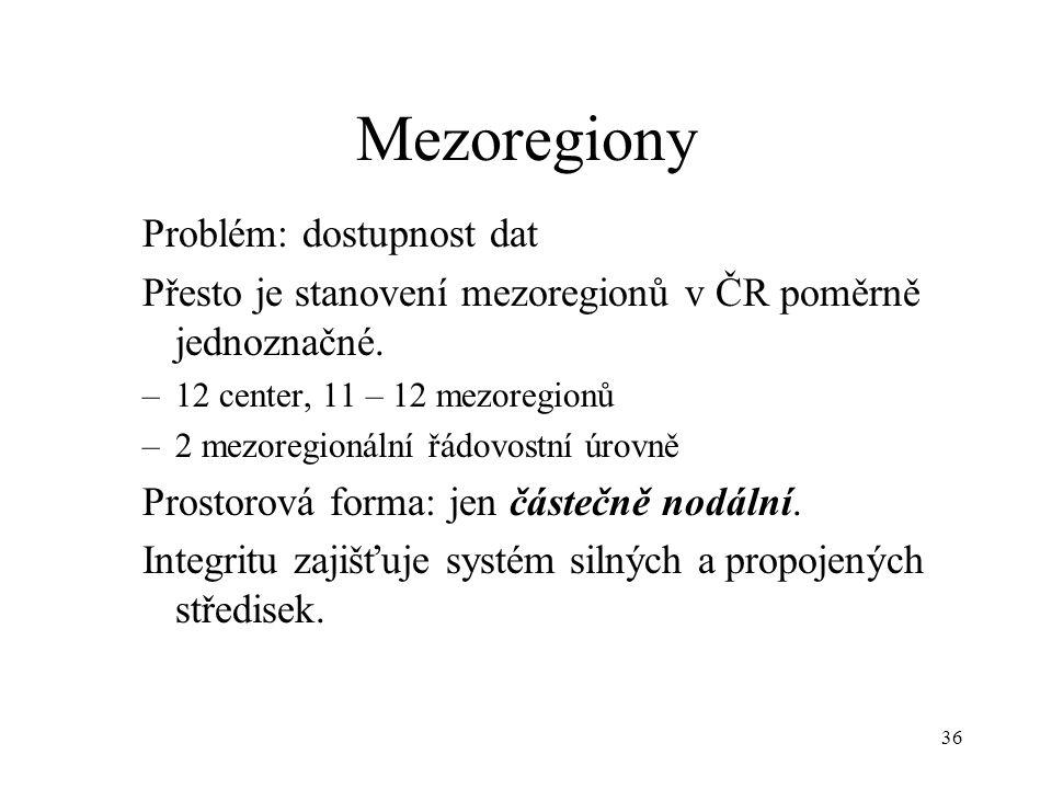 Mezoregiony Problém: dostupnost dat