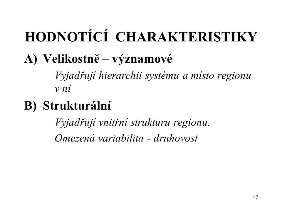HODNOTÍCÍ CHARAKTERISTIKY