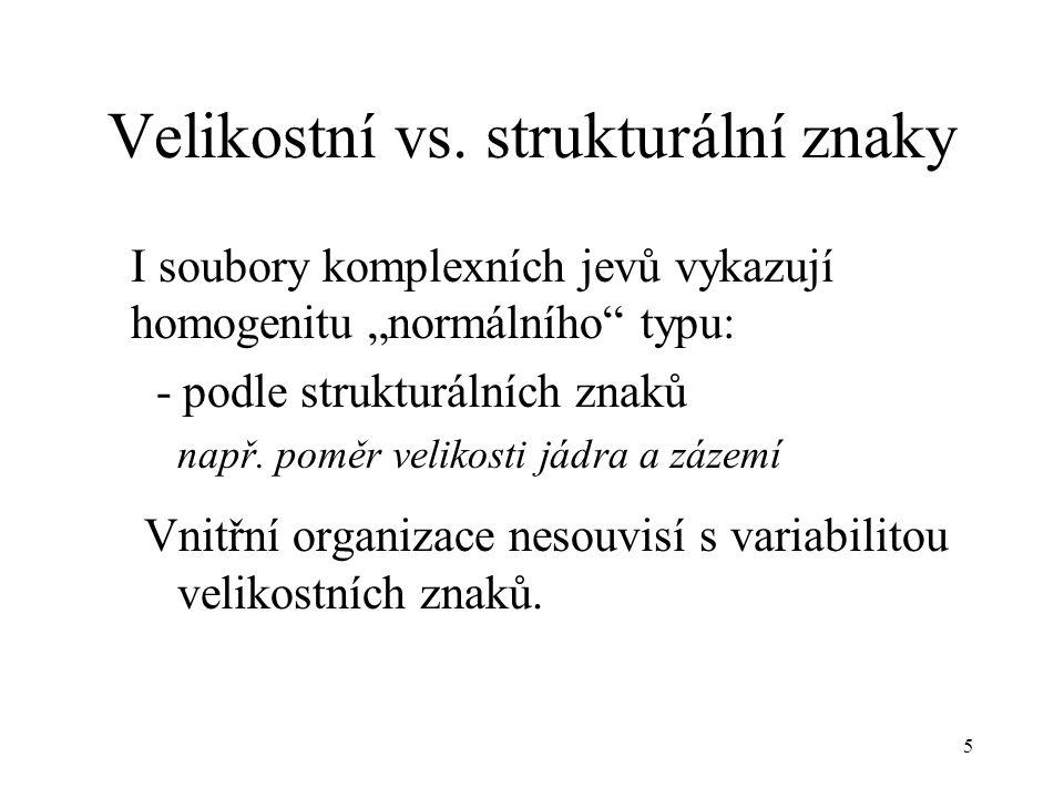 Velikostní vs. strukturální znaky