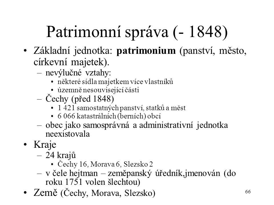 Patrimonní správa (- 1848) Základní jednotka: patrimonium (panství, město, církevní majetek). nevýlučné vztahy: