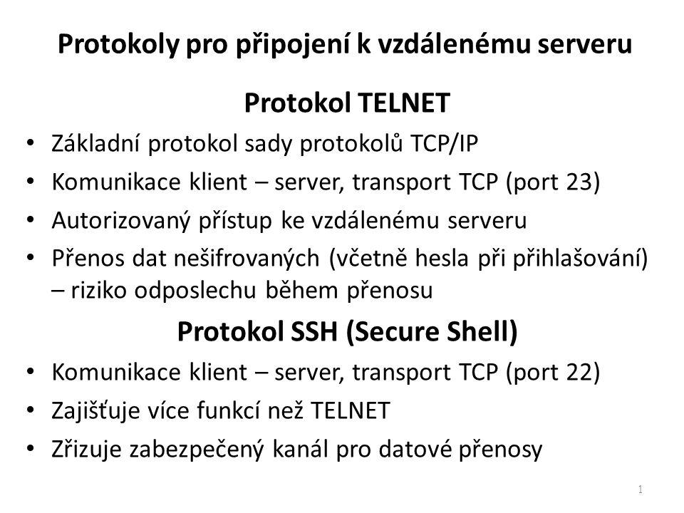 Protokoly pro připojení k vzdálenému serveru