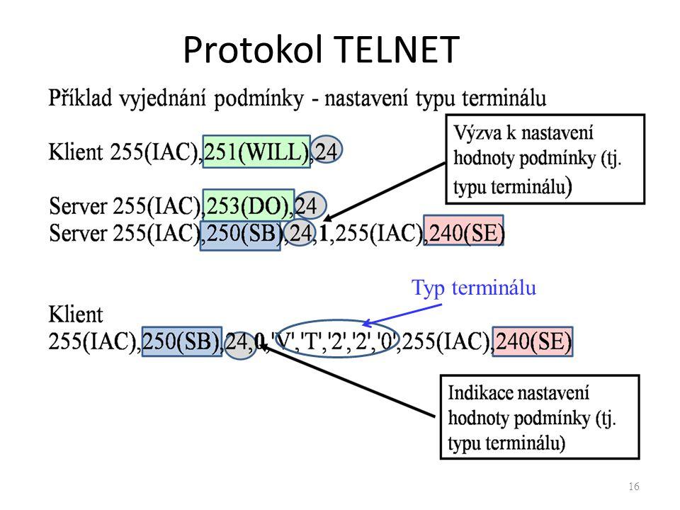 Protokol TELNET Typ terminálu