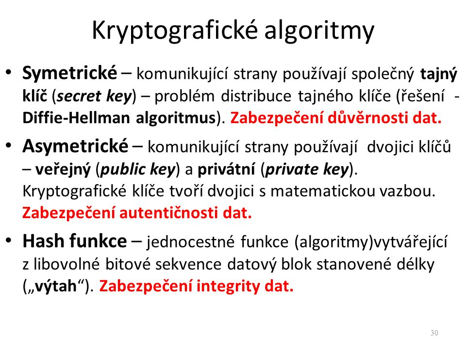 Kryptografické algoritmy