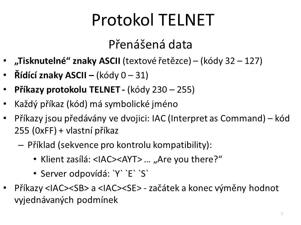 Protokol TELNET Přenášená data