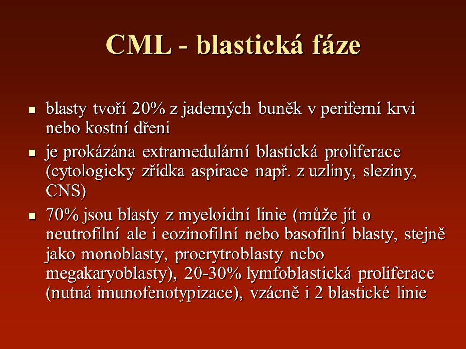 CML - blastická fáze blasty tvoří 20% z jaderných buněk v periferní krvi nebo kostní dřeni.