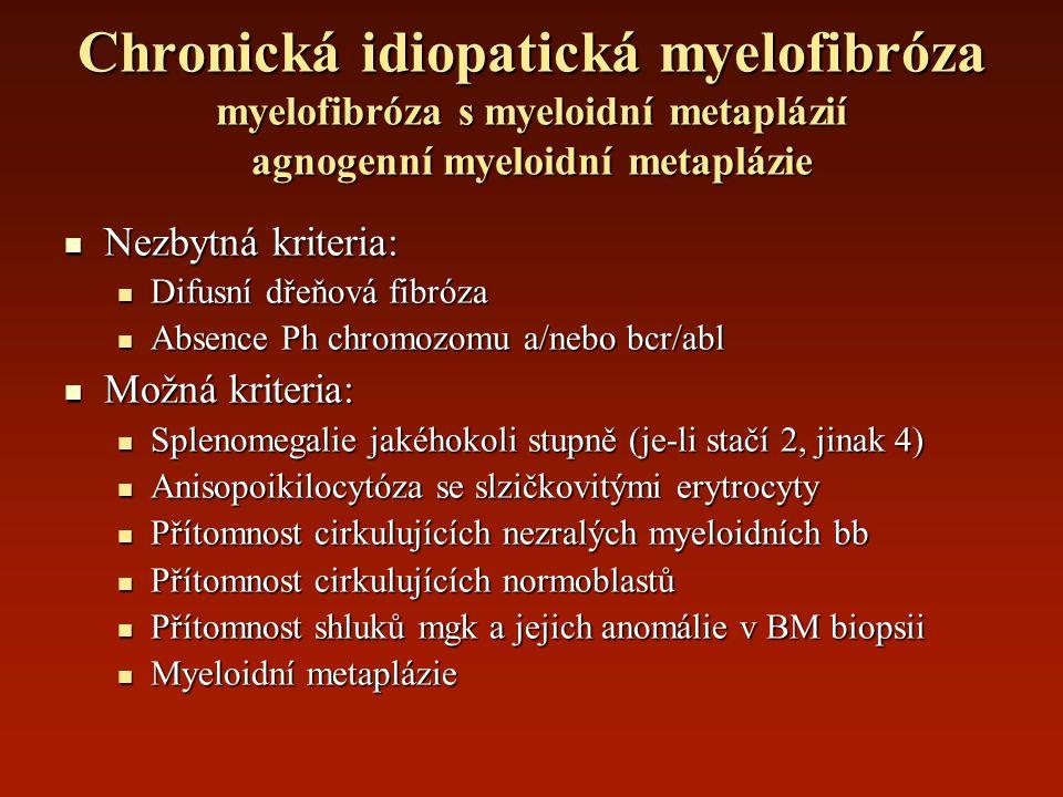 Chronická idiopatická myelofibróza myelofibróza s myeloidní metaplázií agnogenní myeloidní metaplázie