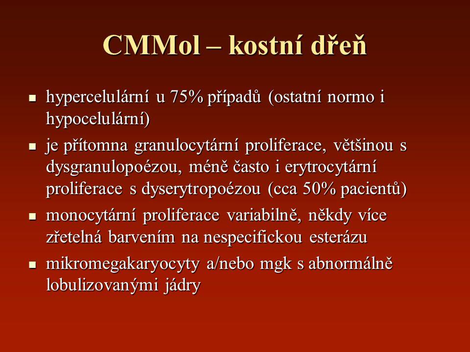 CMMol – kostní dřeň hypercelulární u 75% případů (ostatní normo i hypocelulární)