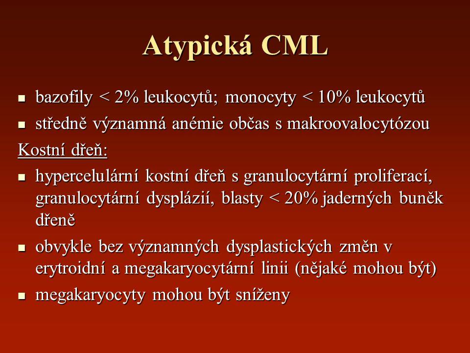 Atypická CML bazofily < 2% leukocytů; monocyty < 10% leukocytů
