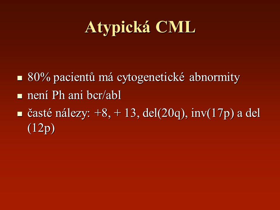 Atypická CML 80% pacientů má cytogenetické abnormity